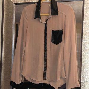 Fashion nova silk and faux leather blouse